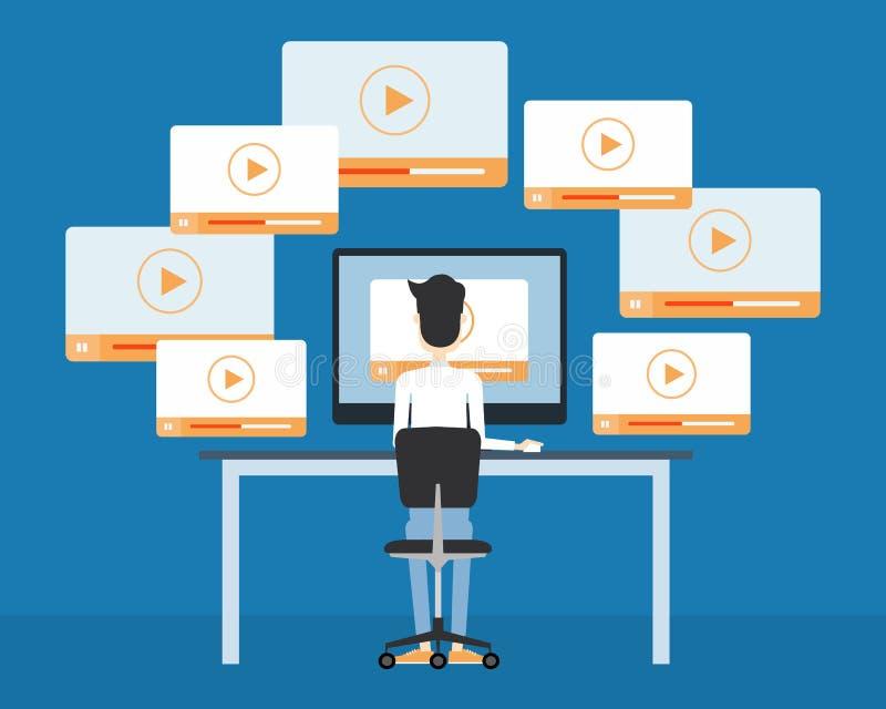 Ικανοποιημένη σε απευθείας σύνδεση έννοια επιχειρησιακού τηλεοπτική μάρκετινγκ διανυσματική απεικόνιση
