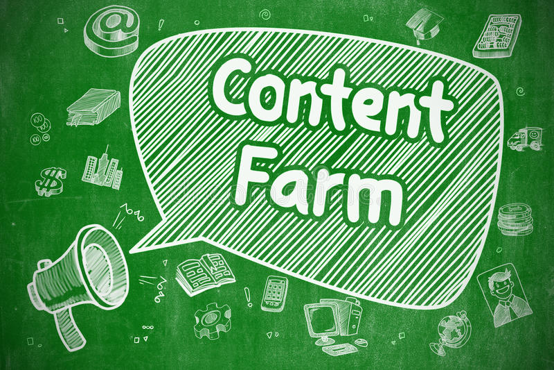 Ικανοποιημένο αγρόκτημα - συρμένη χέρι απεικόνιση στον πράσινο πίνακα κιμωλίας ελεύθερη απεικόνιση δικαιώματος