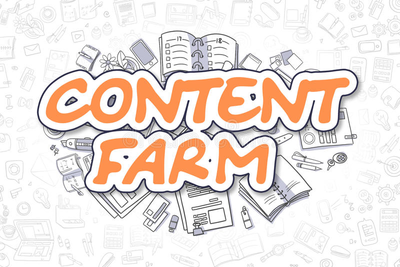 Ικανοποιημένο αγρόκτημα - Doodle το πορτοκαλί Word χρυσή ιδιοκτησία βασικών πλήκτρων επιχειρησιακής έννοιας που φθάνει στον ουραν ελεύθερη απεικόνιση δικαιώματος