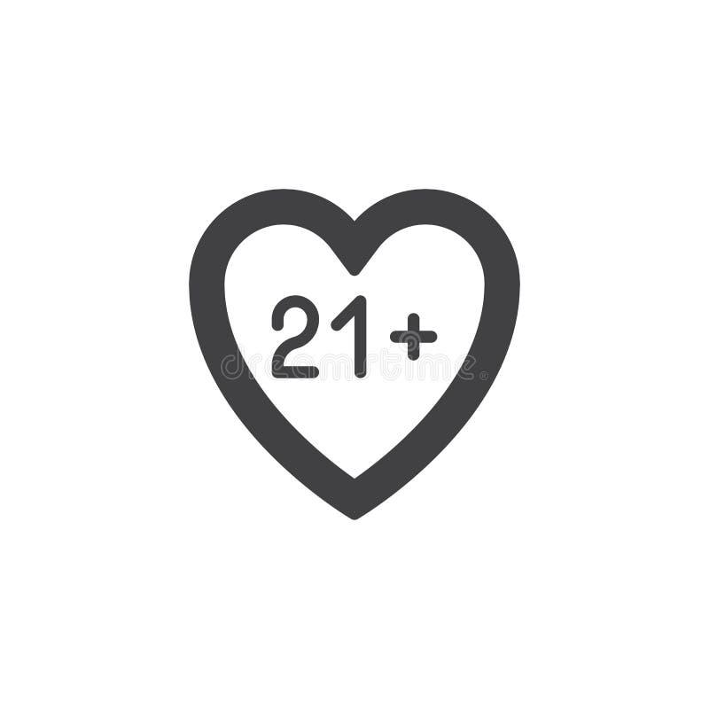 ικανοποιημένο διανυσματικό εικονίδιο καρδιών 21 διανυσματική απεικόνιση