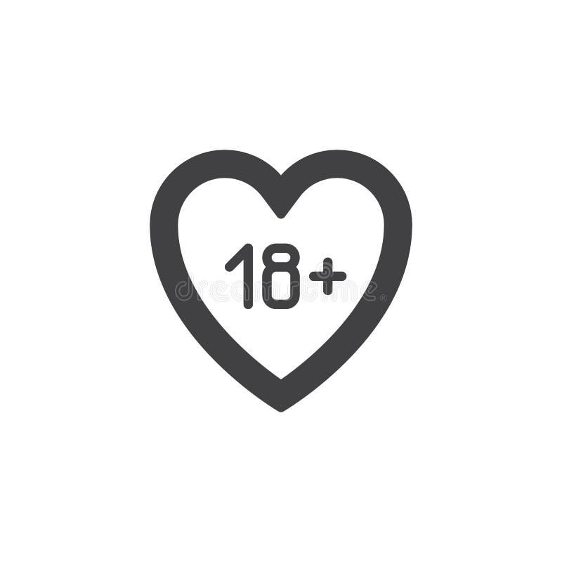 ικανοποιημένο διανυσματικό εικονίδιο καρδιών 18 απεικόνιση αποθεμάτων