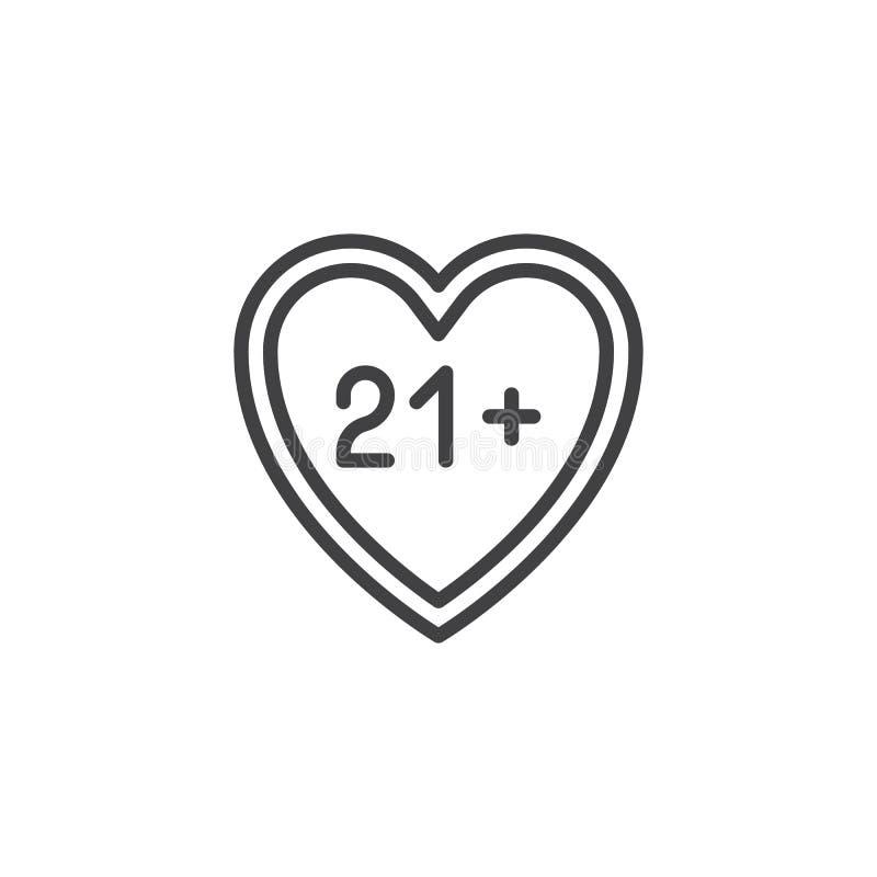 ικανοποιημένο εικονίδιο γραμμών καρδιών 21 διανυσματική απεικόνιση