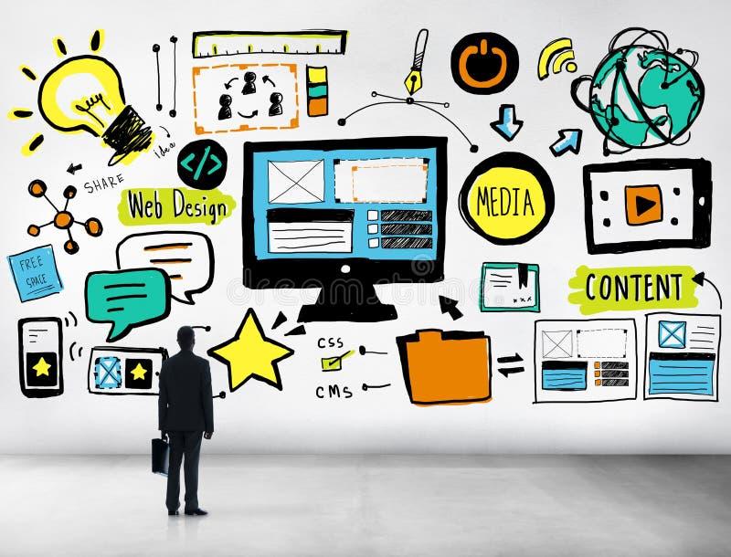 Ικανοποιημένο κοίταγμα σχεδίου Ιστού επιχειρηματιών επάνω στην έννοια ιδέας στοκ εικόνα με δικαίωμα ελεύθερης χρήσης