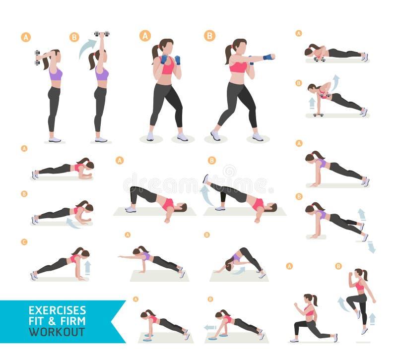 Ικανότητα, αεροβικός και ασκήσεις γυναικών workout ελεύθερη απεικόνιση δικαιώματος