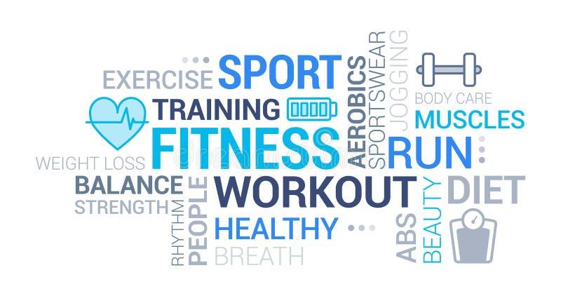 Ικανότητα, αθλητισμός και σύννεφο ετικεττών wellness διανυσματική απεικόνιση
