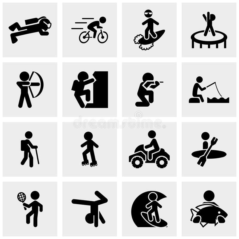 Ικανότητα, αθλητισμός, ενεργό SE εικονιδίων αναψυχής διανυσματικό διανυσματική απεικόνιση