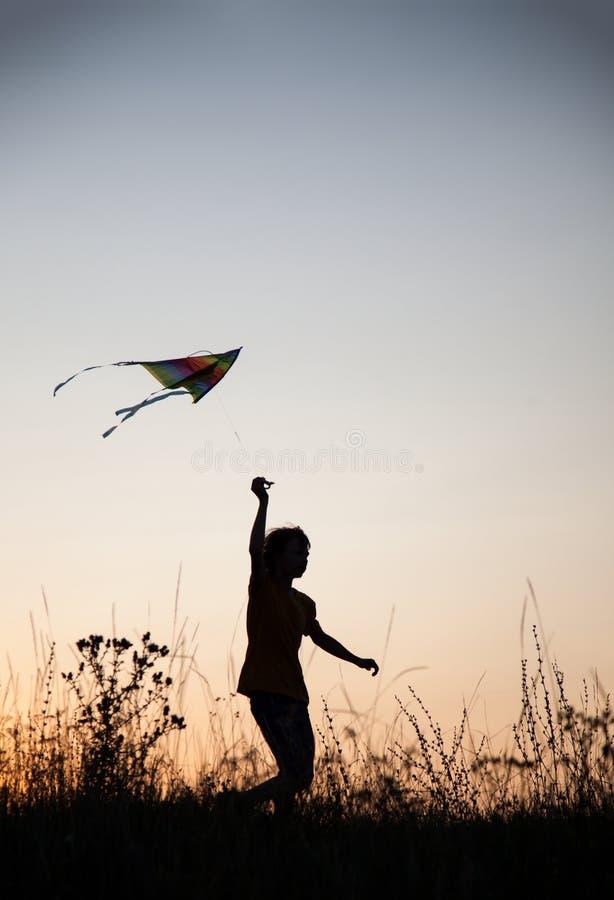 Ικτίνος παιχνιδιού αγοριών στο λιβάδι θερινού ηλιοβασιλέματος που σκιαγραφείται στοκ εικόνες