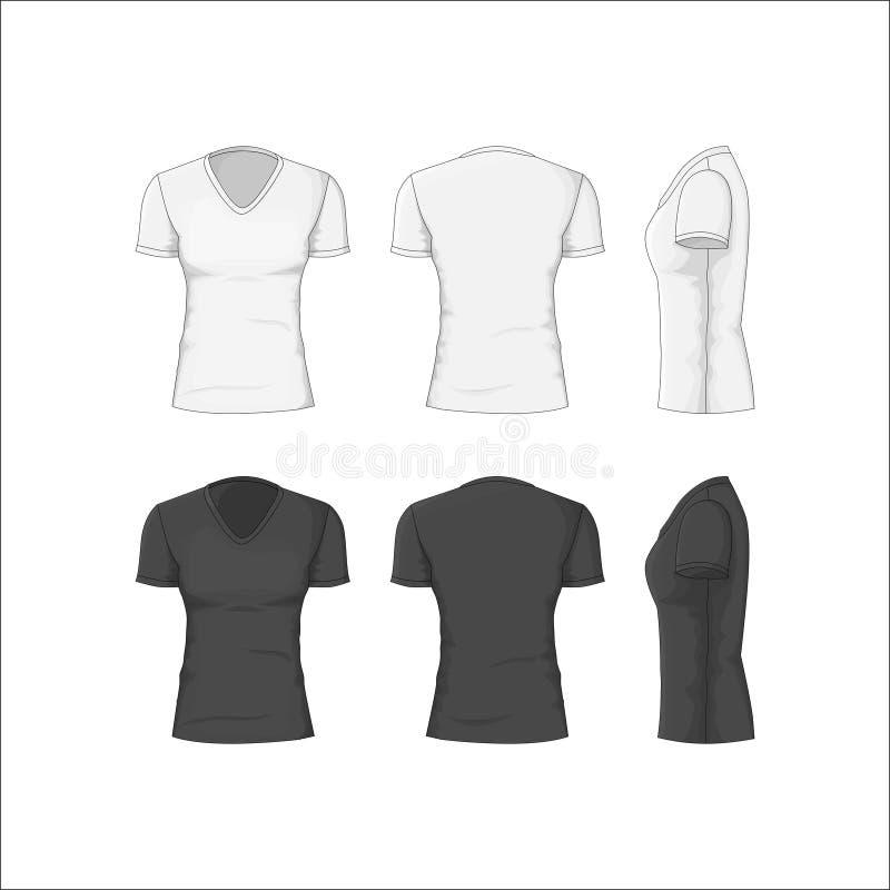 Ιματισμός βαμβακιού μπλουζών γυναικών διάνυσμα διανυσματική απεικόνιση
