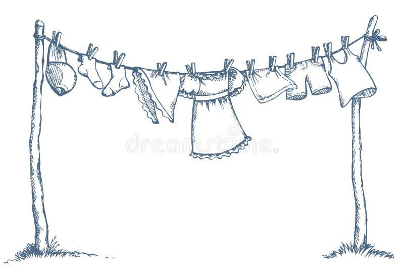 Ιματισμός πλυσίματος στη σκοινί για άπλωμα ανασκόπηση που σύρει το floral διάνυσμα χλόης ελεύθερη απεικόνιση δικαιώματος