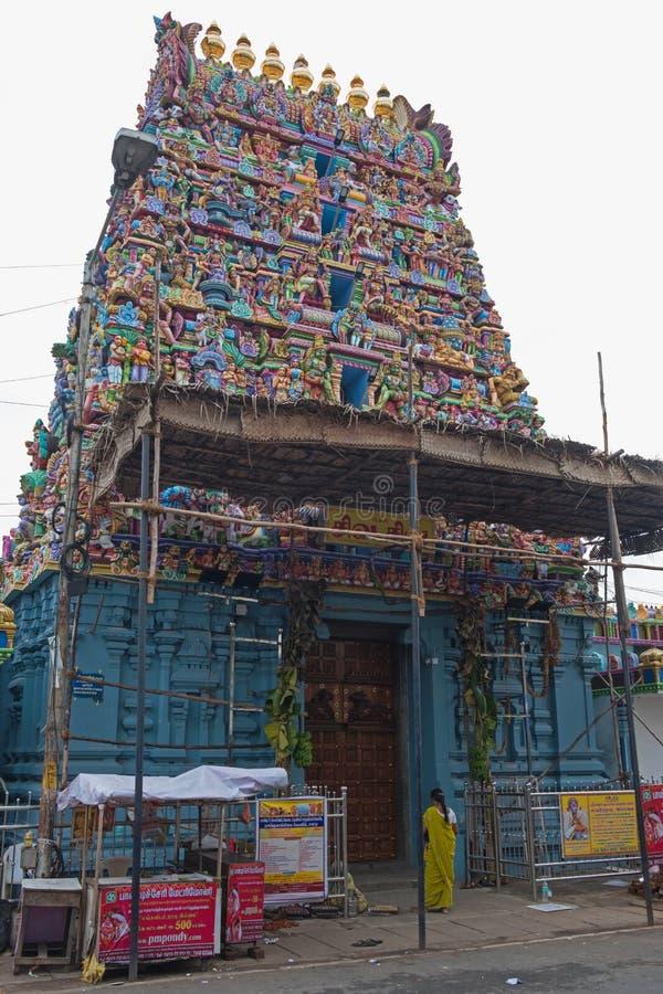 Ινδή είσοδος ναών στο Tamil Nadu στοκ εικόνα με δικαίωμα ελεύθερης χρήσης