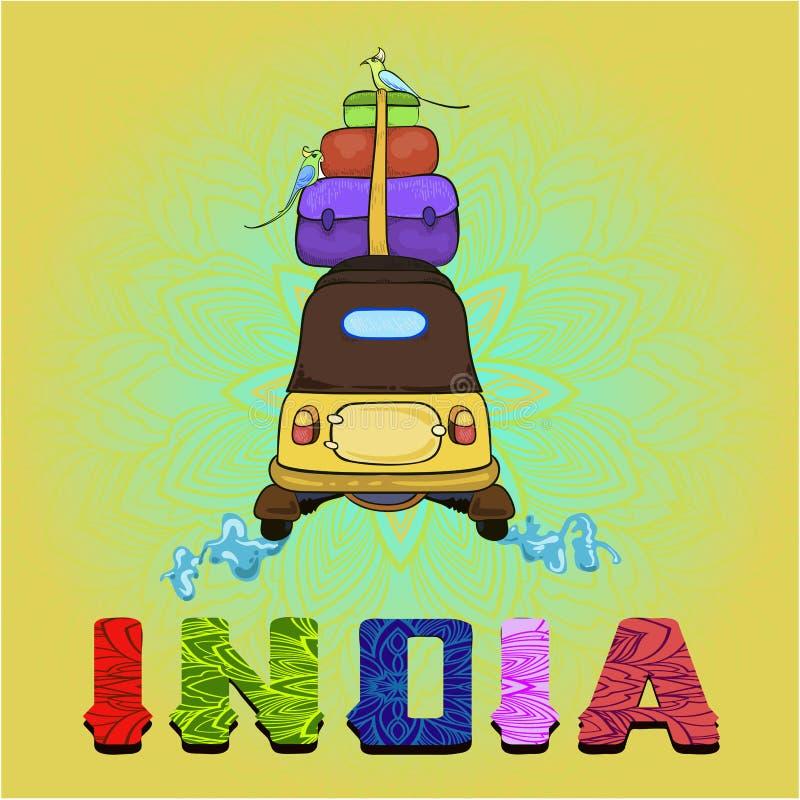 Ινδία - υπόβαθρο με τη ζωηρόχρωμη δίτροχο χειράμαξα και την εγγραφή ` Ινδία ` σχεδίων στοκ φωτογραφία