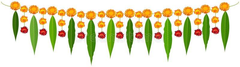 Ινδικά παραδοσιακά φύλλα μάγκο γιρλαντών mala και πορτοκαλιά λουλούδια απεικόνιση αποθεμάτων