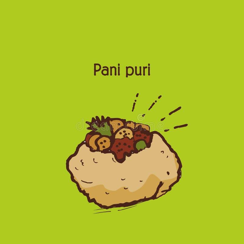 Ινδικά τρόφιμα Pani Puri οδών ή gol gappa διανυσματική απεικόνιση