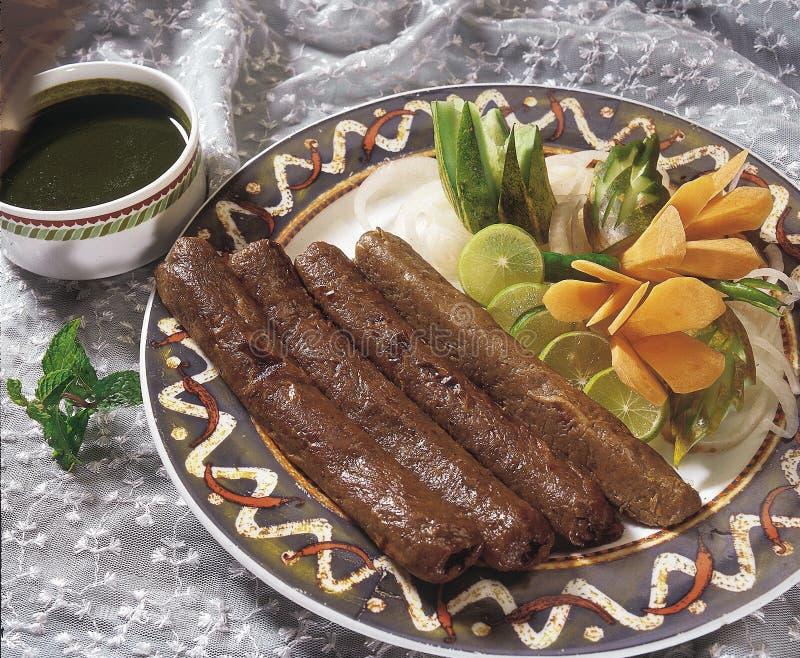 ινδικά kebabs κουζίνας seekh στοκ φωτογραφία