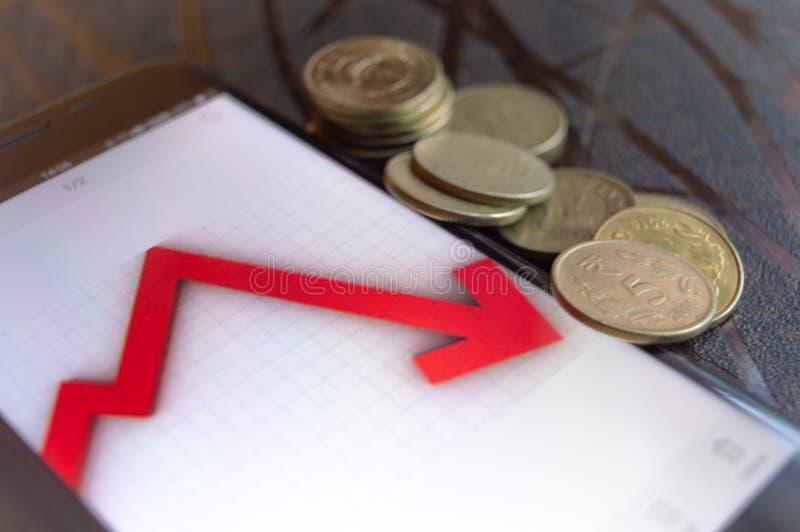 Ινδικές συντριβές χρηματιστηρίου και πολύ λιγότερες επιστροφές από τις μετοχές δ στοκ φωτογραφία