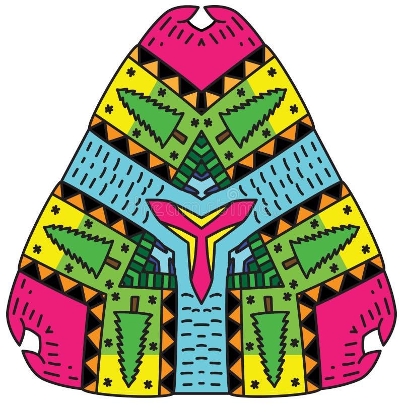 Ινδική διακόσμηση και διακοσμητικό διαμορφωμένο mandala χρωματισμού απεικόνιση αποθεμάτων