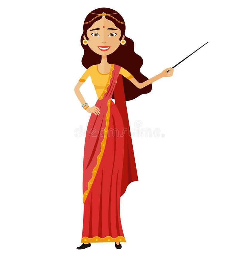 Ινδική ελκυστική νέα κυρία που παρουσιάζει κάτι απεικόνιση αποθεμάτων