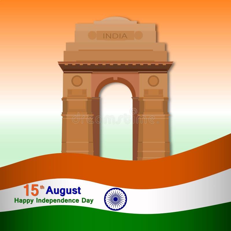 Ινδική ευχετήρια κάρτα ημέρας της ανεξαρτησίας με την ινδική διανυσματική απεικόνιση πυλών και σημαιών ελεύθερη απεικόνιση δικαιώματος
