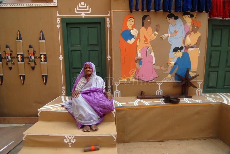 Ινδική τέχνη κατά τη διάρκεια του φεστιβάλ Durga στοκ φωτογραφία
