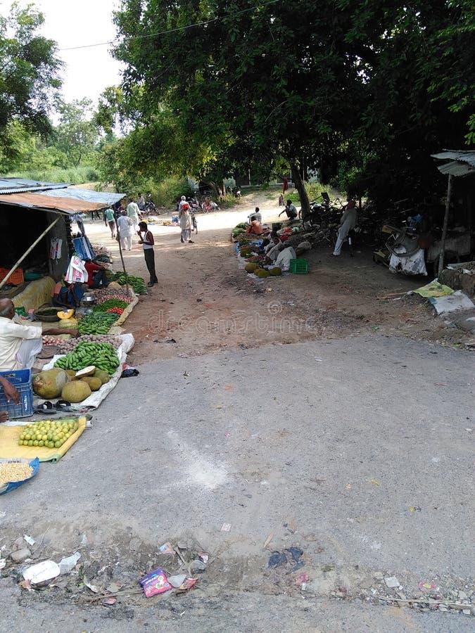 Ινδική του χωριού φυτική αγορά ανοικτή μόνο στο βράδυ στοκ εικόνες
