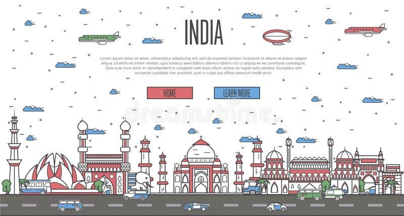 Ινδικός ορίζοντας με τα εθνικά διάσημα ορόσημα απεικόνιση αποθεμάτων