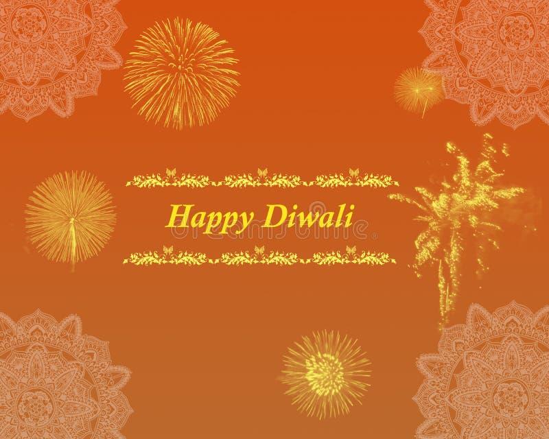 Ινδικό έμβλημα αφισών υποβάθρου χαιρετισμών φεστιβάλ Diwali απεικόνιση αποθεμάτων