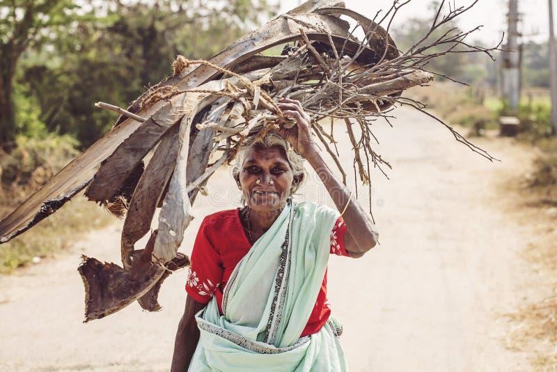 Ινδικό ανώτερο carying ξύλο γυναικών στο κεφάλι της στοκ φωτογραφίες