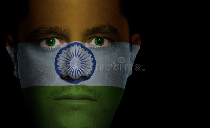 ινδικό αρσενικό σημαιών προσώπου στοκ φωτογραφία