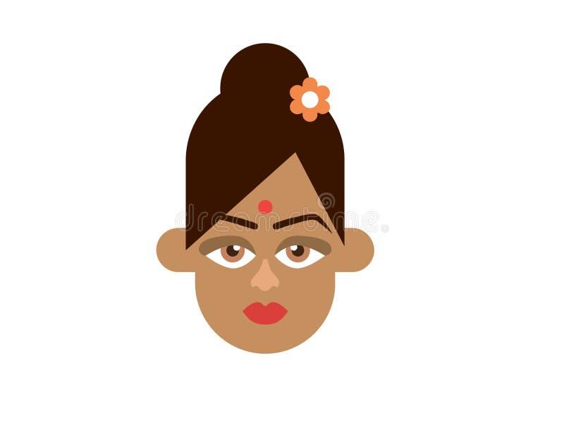 Ινδικό γυναικείο διάνυσμα στο άσπρο υπόβαθρο διανυσματική απεικόνιση