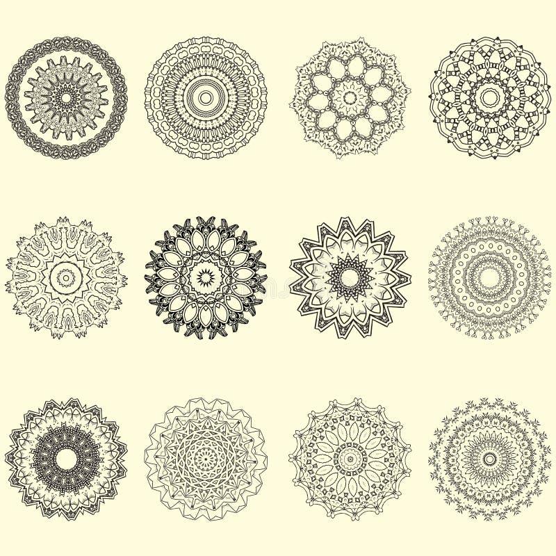 Ινδικό διανυσματικό και διακοσμητικό σύνολο mandala και γεωμετρικής διακόσμησης διανυσματική απεικόνιση