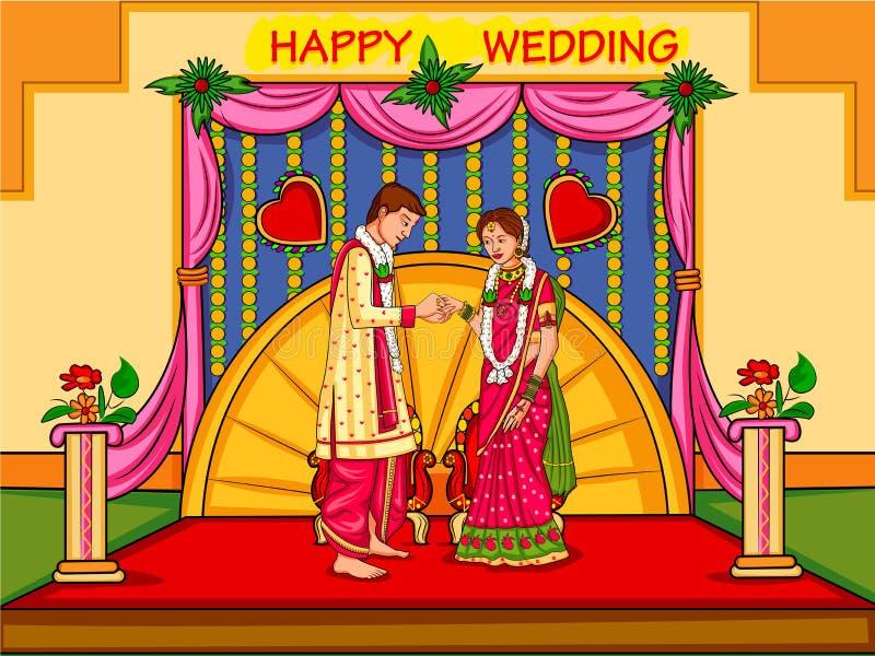 Ινδικό ζεύγος στην τελετή γαμήλιας δέσμευσης της Ινδίας ελεύθερη απεικόνιση δικαιώματος