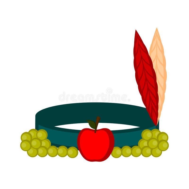 Ινδικό καπέλο με ένα μήλο και τα σταφύλια απεικόνιση αποθεμάτων