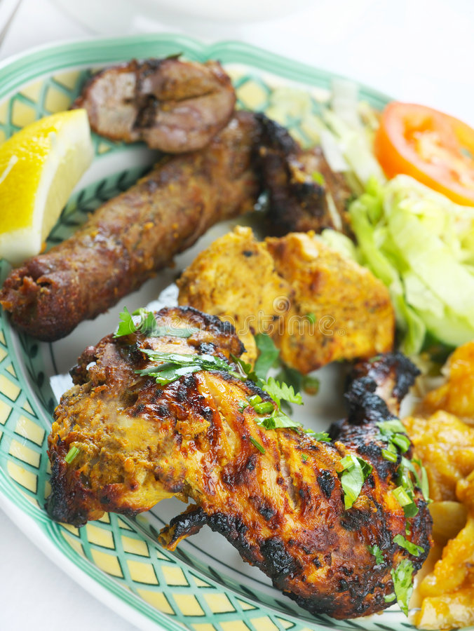 ινδικό μικτό γεύμα tandoori σχαρών στοκ φωτογραφίες