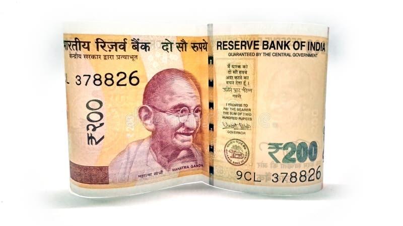 Ινδικό νόμισμα εγγράφου 200 ρουπίων στοκ εικόνα με δικαίωμα ελεύθερης χρήσης