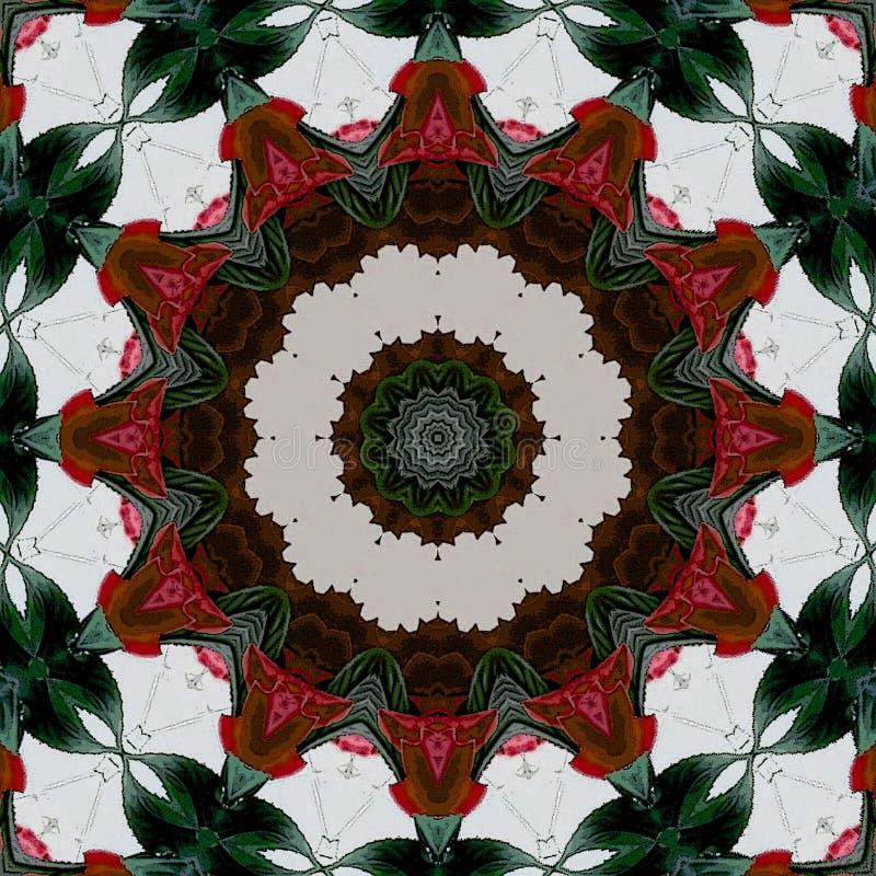 Ινδικό παραδοσιακό σχέδιο στο χρώμα - mandala λουλουδιών - καμπύλες Αφηρημένο φυλετικό εθνικό arabesque o r απεικόνιση αποθεμάτων