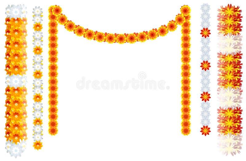 Ινδικό πορτοκαλί πλαίσιο mala γιρλαντών λουλουδιών που απομονώνεται στο λευκό διανυσματική απεικόνιση
