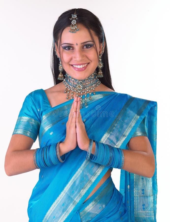 ινδικό ρητό namaste κοριτσιών στοκ εικόνα