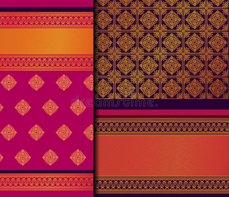 Ινδικό σύνολο σχεδίων Pattu Σάρι διανυσματικό διανυσματική απεικόνιση