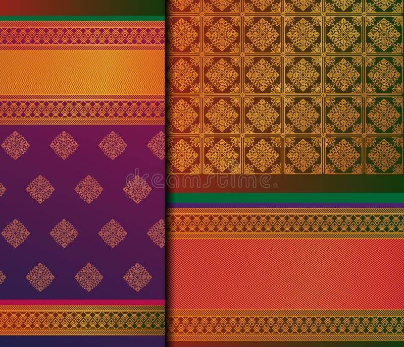 Ινδικό σύνολο σχεδίων Pattu Σάρι διανυσματικό απεικόνιση αποθεμάτων