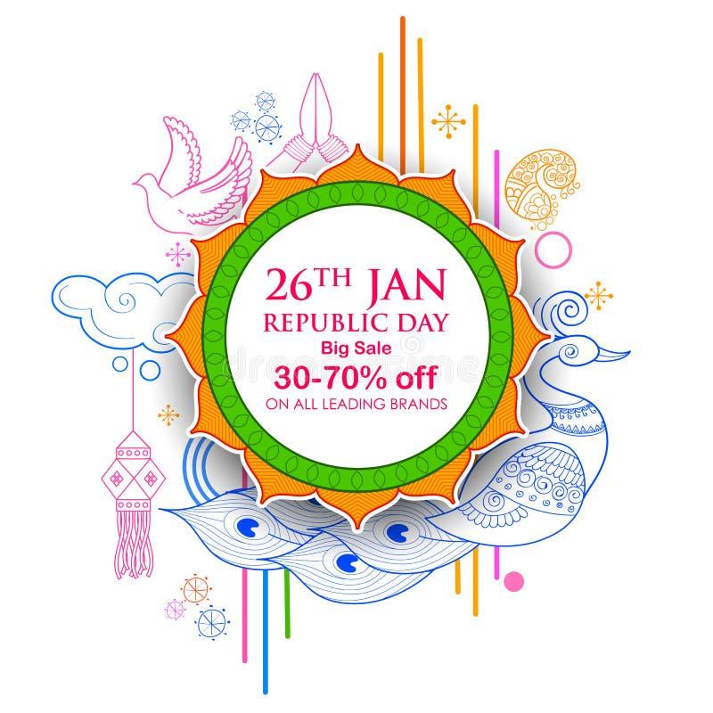 Ινδικό υπόβαθρο με το tricolor για την ευτυχή ημέρα Δημοκρατίας την 26η Ιανουαρίου του εμβλήματος διαφημίσεων πώλησης και προώθησ διανυσματική απεικόνιση