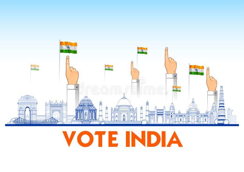 Ινδικό χέρι ανθρώπων με την ψηφοφορία του σημαδιού που παρουσιάζει γενική εκλογή της Ινδίας διανυσματική απεικόνιση