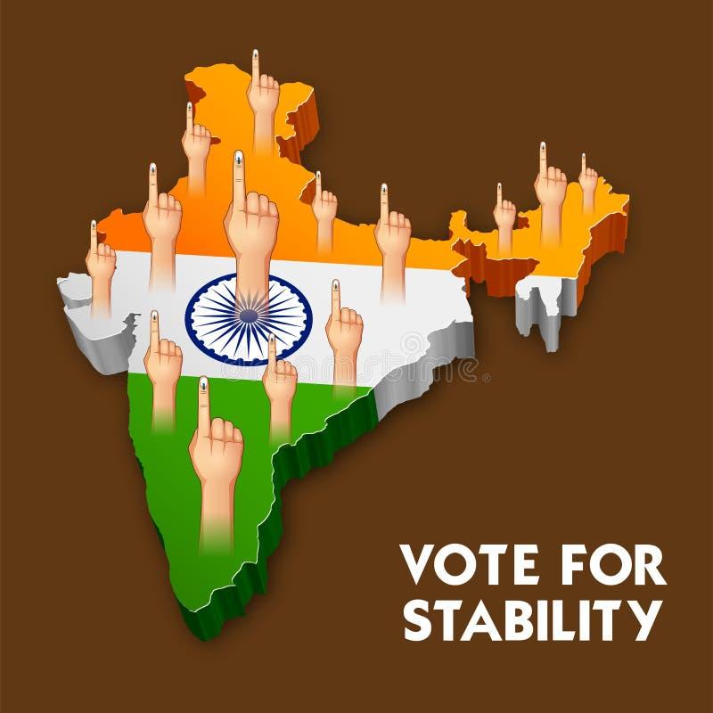 Ινδικό χέρι ανθρώπων με την ψηφοφορία του σημαδιού που παρουσιάζει γενική εκλογή της Ινδίας απεικόνιση αποθεμάτων