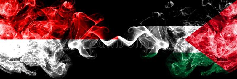 Ινδονησία εναντίον της Παλαιστίνης, παλαιστινιακές καπνώείς απόκρυφες σημαίες που τοποθετούνται δίπλα-δίπλα Πυκνά χρωματισμένες μ ελεύθερη απεικόνιση δικαιώματος