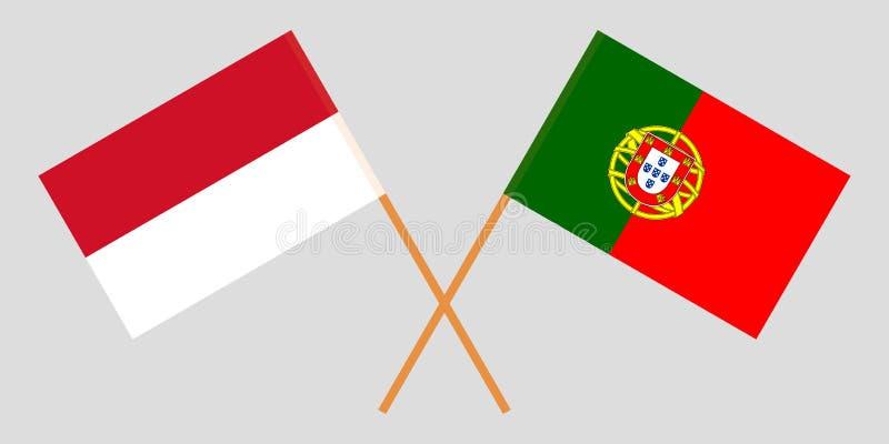 Ινδονησία και Πορτογαλία Οι ινδονησιακές και πορτογαλικές σημαίες r o r διανυσματική απεικόνιση