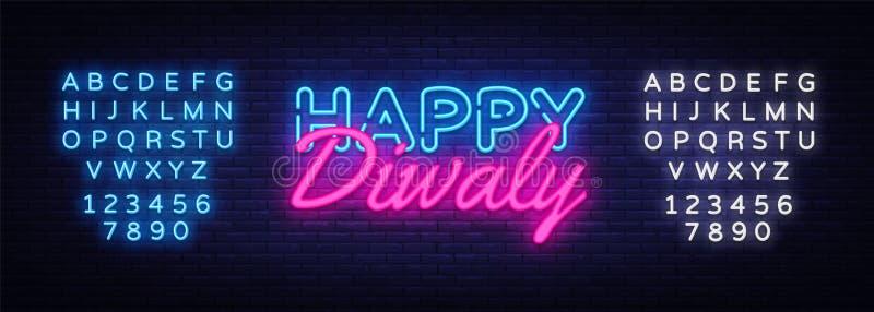Ινδό διάνυσμα νέου ευχετήριων καρτών φεστιβάλ Diwali Σημάδι νέου Diwali, πρότυπο σχεδίου, σύγχρονο σχέδιο τάσης, νέο νύχτας διανυσματική απεικόνιση