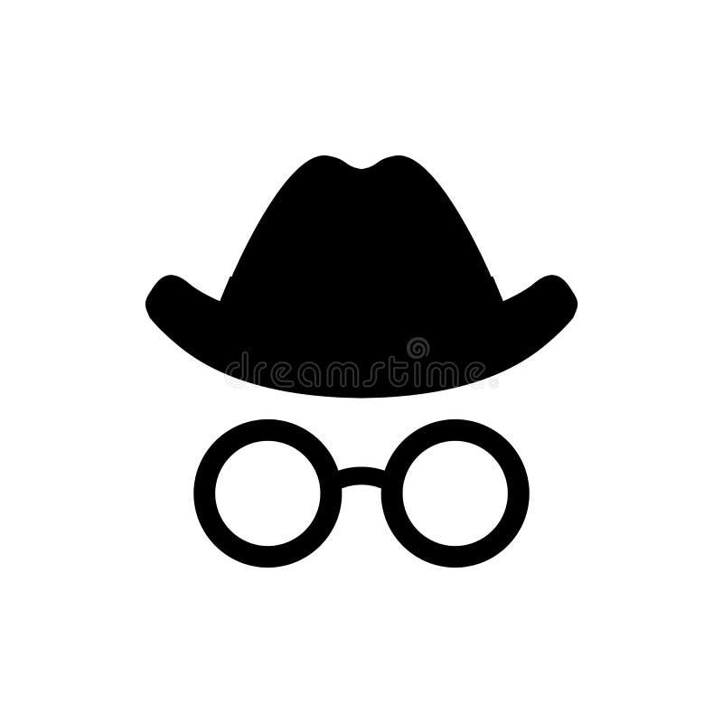 Ινκόγκνιτο εικονίδιο Καπέλο και σημάδι γυαλιών Ανώνυμο σύμβολο πρακτόρων κατασκόπων, λογότυπο διάνυσμα απεικόνισης †« διανυσματική απεικόνιση