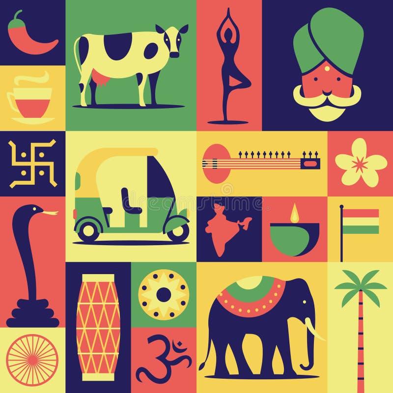 Ινδία, διανυσματική επίπεδη απεικόνιση, σύνολο εικονιδίων, σχέδιο, υπόβαθρο: Ινδός, γιόγκα, cobra φιδιών, αυτοκίνητο, sitar, λουλ ελεύθερη απεικόνιση δικαιώματος