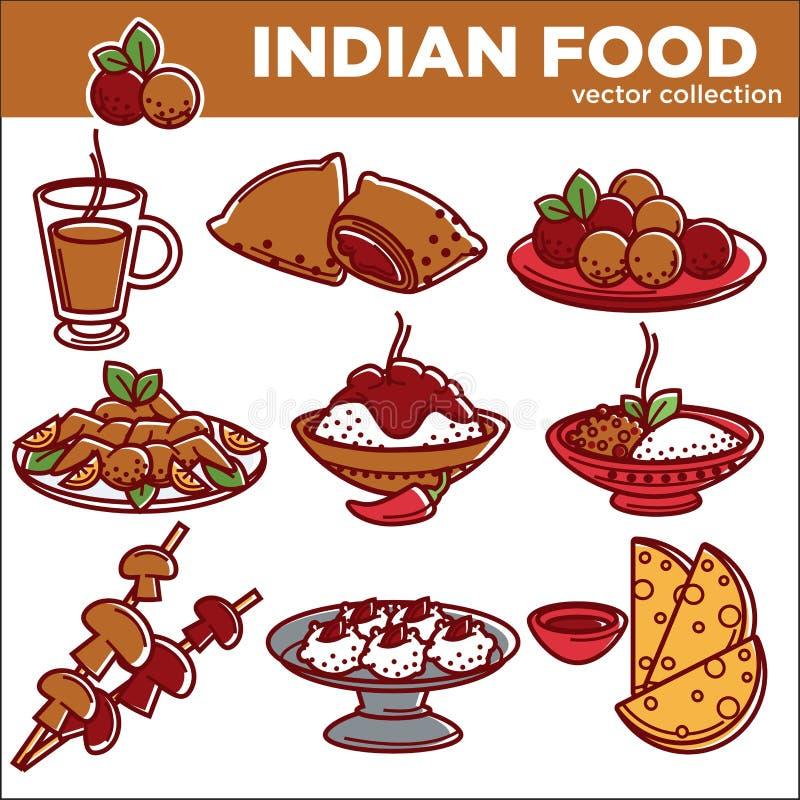 Ινδικά διανυσματικά επίπεδα εικονίδια πιάτων τροφίμων κουζίνας παραδοσιακά καθορισμένα διανυσματική απεικόνιση