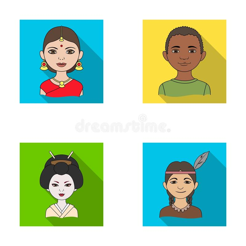 Ινδική γυναίκα, Αφρικανός, ιαπωνικά, ινδικά Καθορισμένα εικονίδια συλλογής ανθρώπινων φυλών στην επίπεδη απεικόνιση αποθεμάτων συ απεικόνιση αποθεμάτων