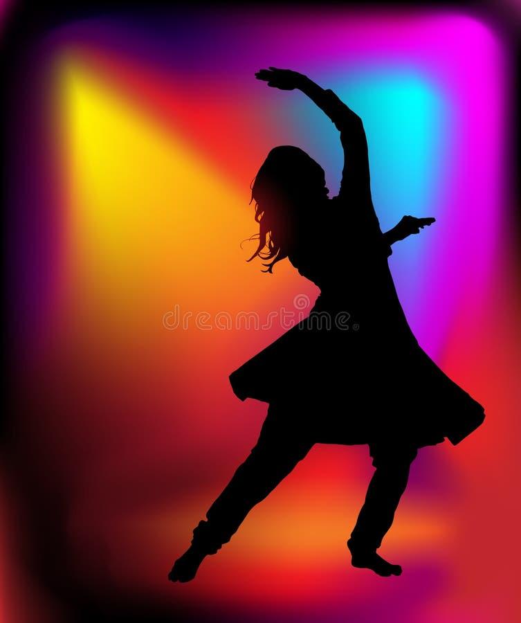Ινδική γυναίκα χορευτών διανυσματική απεικόνιση